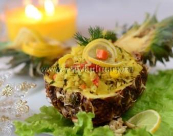 Рис по-тайски с ананасом