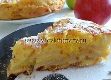Вкусная яблочно-апельсиновая шарлотка в мульте