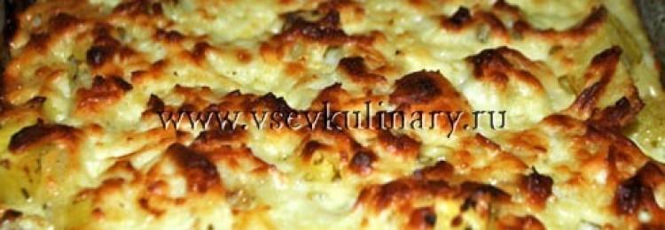 Картофельная запеканка с сыром брынза и яйцами