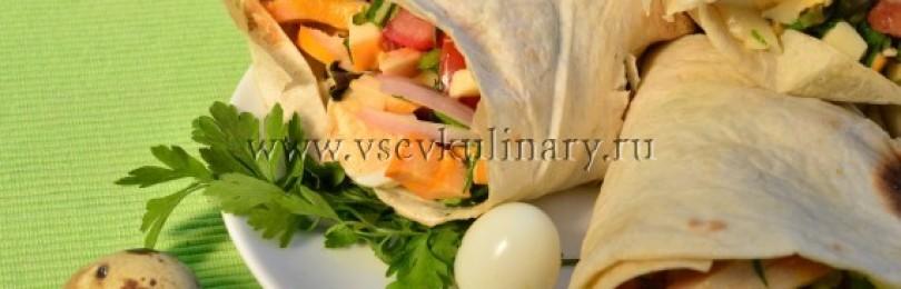 Домашняя шаурма с курицей и перепелинными яйцами