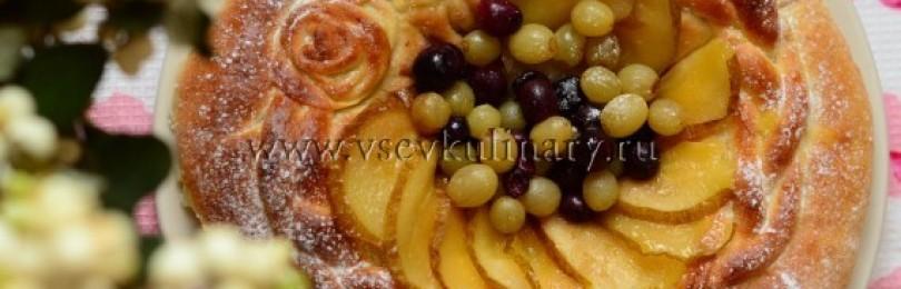 Дрожжевой  пирог с творогом в духовке