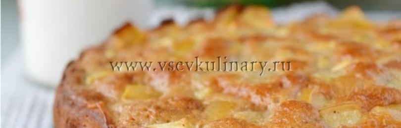 Шарлотка на кефире, пышная с яблоками в духовке