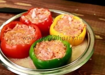 Фаршированные перцы с фаршем и рисом — рецепт