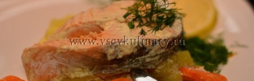Семга в сливочном соусе с картофелем