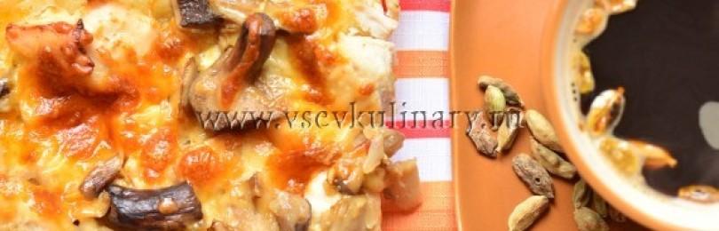 Пицца на кефире с курицей и грибами