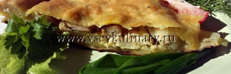 Закрытый пирог с картофелем и курицей