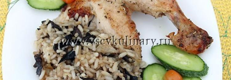 Фаршируем курицу грибами и рисом