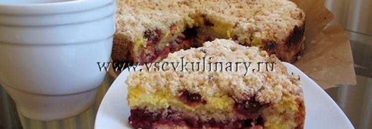 Пирог с замороженной малиной и творогом