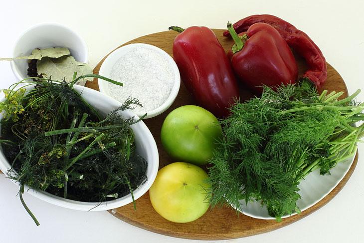Зелёные помидоры квашеные быстрого приготовления в ведре и кастрюле
